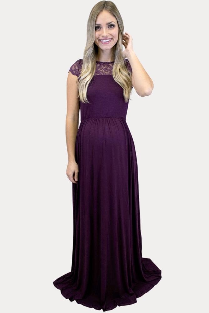 purple maternity maxi