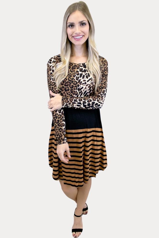 leopard color block maternity dress