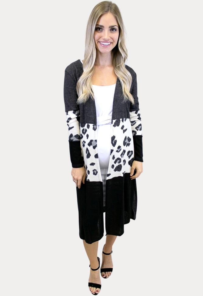 leopard print maternity kimono