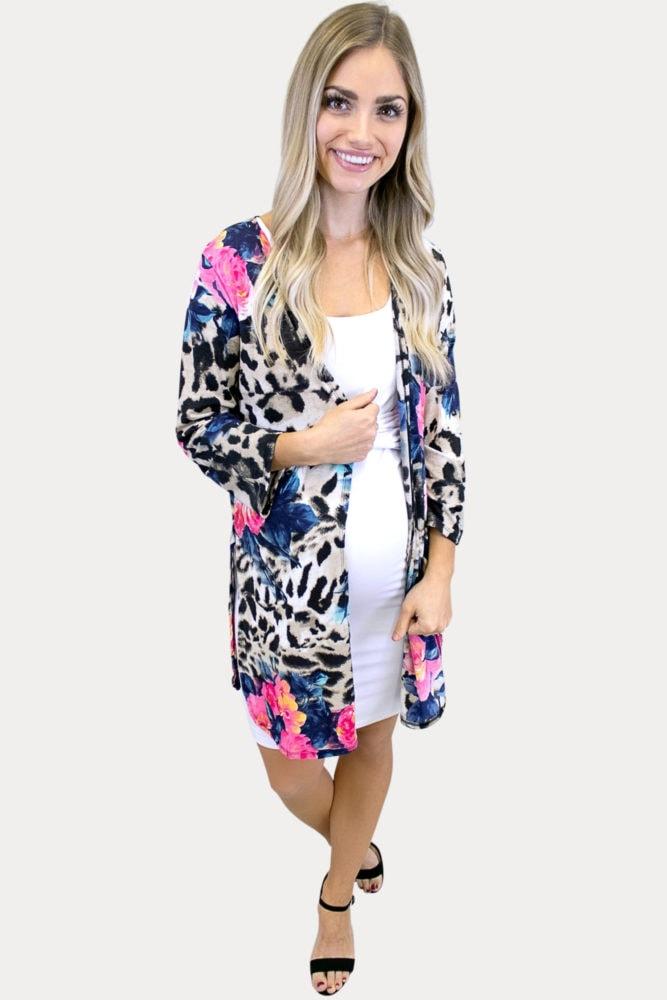 colorful leopard maternity kimono