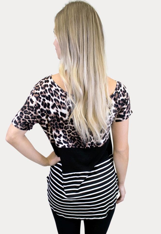 leopard colorblock maternity top