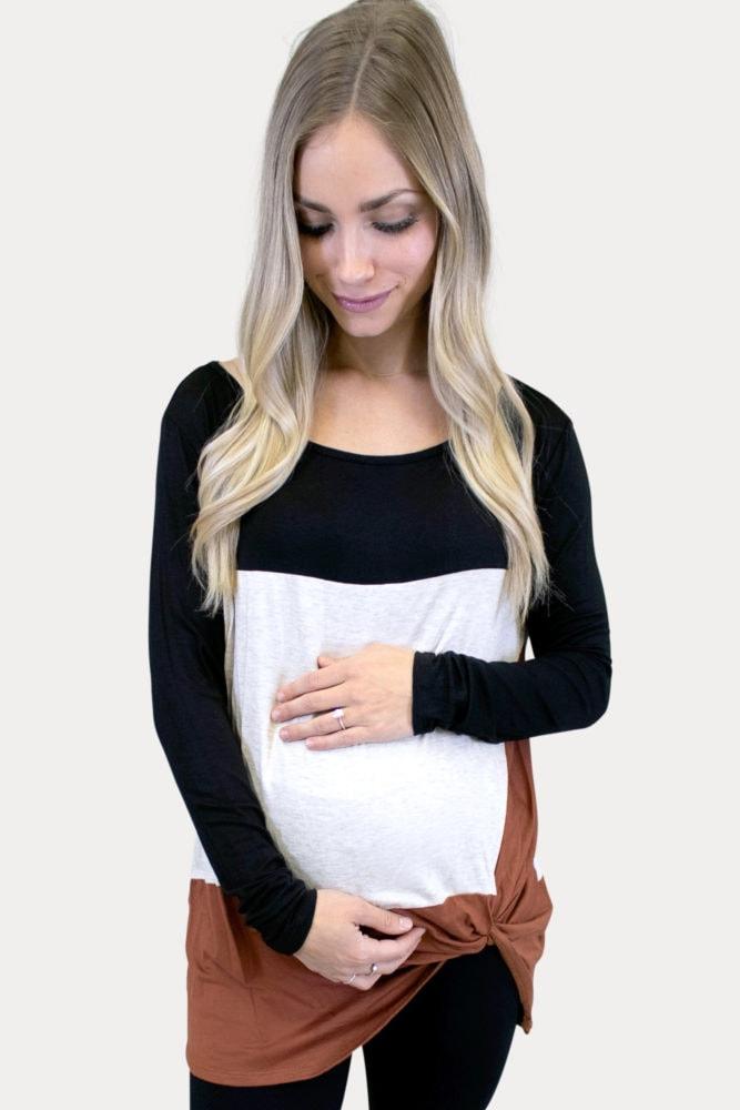 color block maternity top