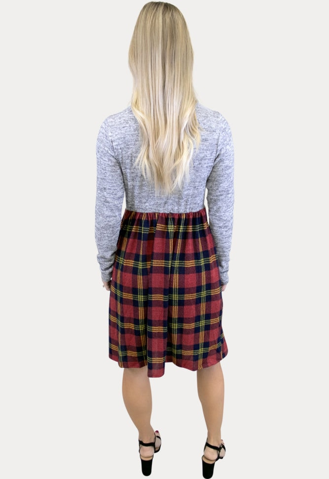 plaid pregnancy dress