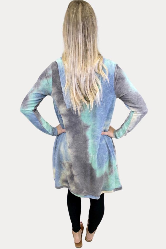 blue tie dye maternity cardigan