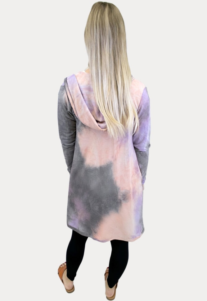 pink tie dye maternity cardigan