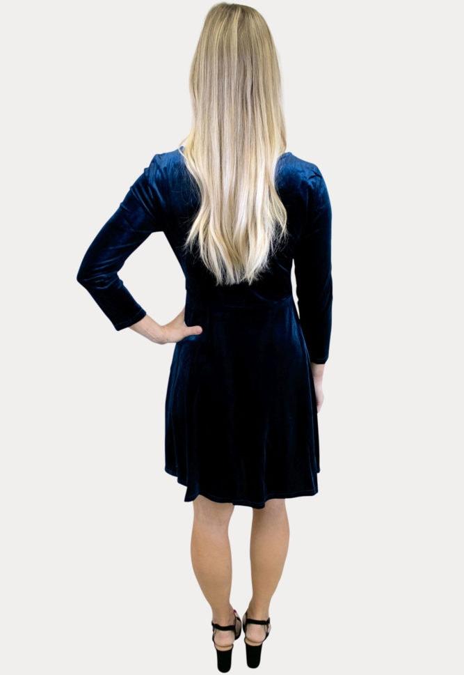 velvet long sleeve maternity dress