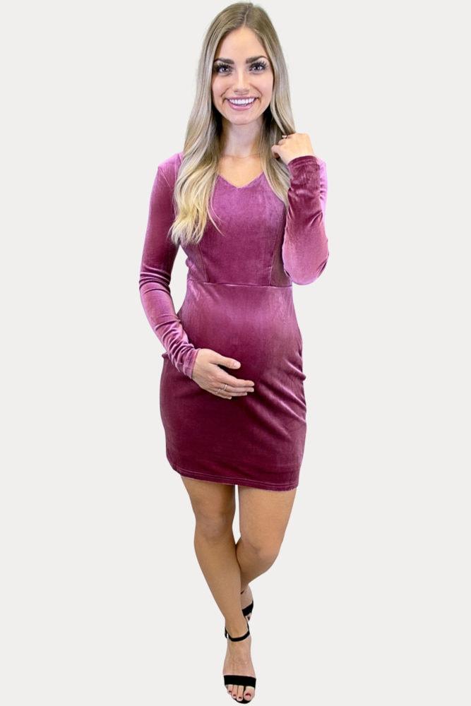 Long Sleeve Velvet Maternity Mini Dress in Pink