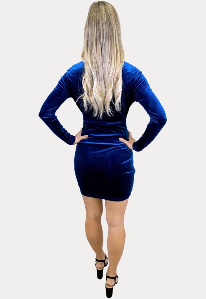 blue velvet maternity dress