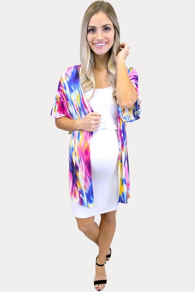 multi colored maternity cardigan