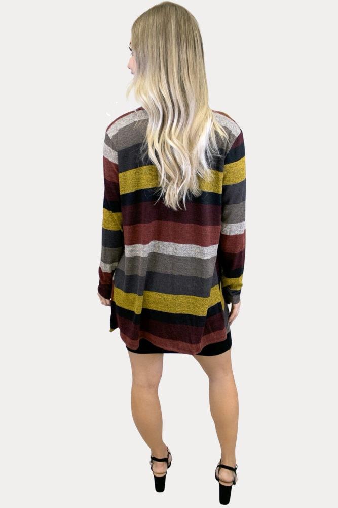 striped maternity cardigan
