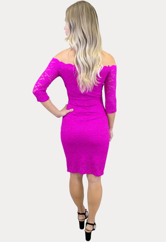 bright pink lace maternity dress