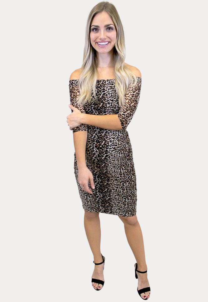 3/4 sleeve leopard maternity dress