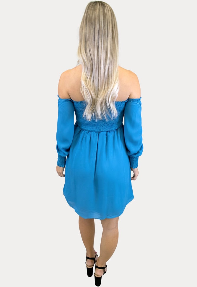 blue smock top maternity dress