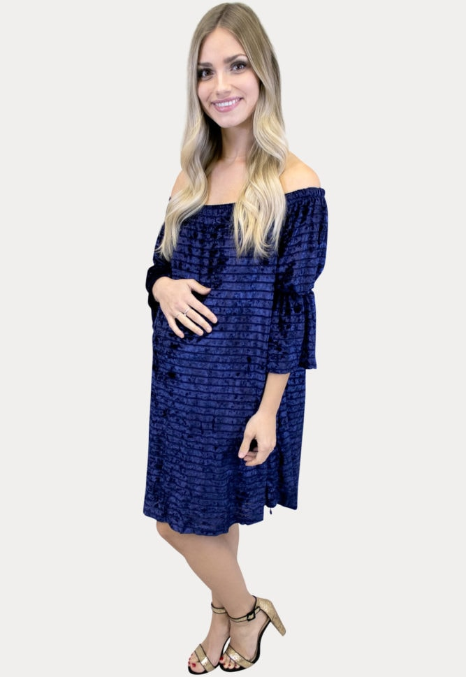 navy velvet maternity dress