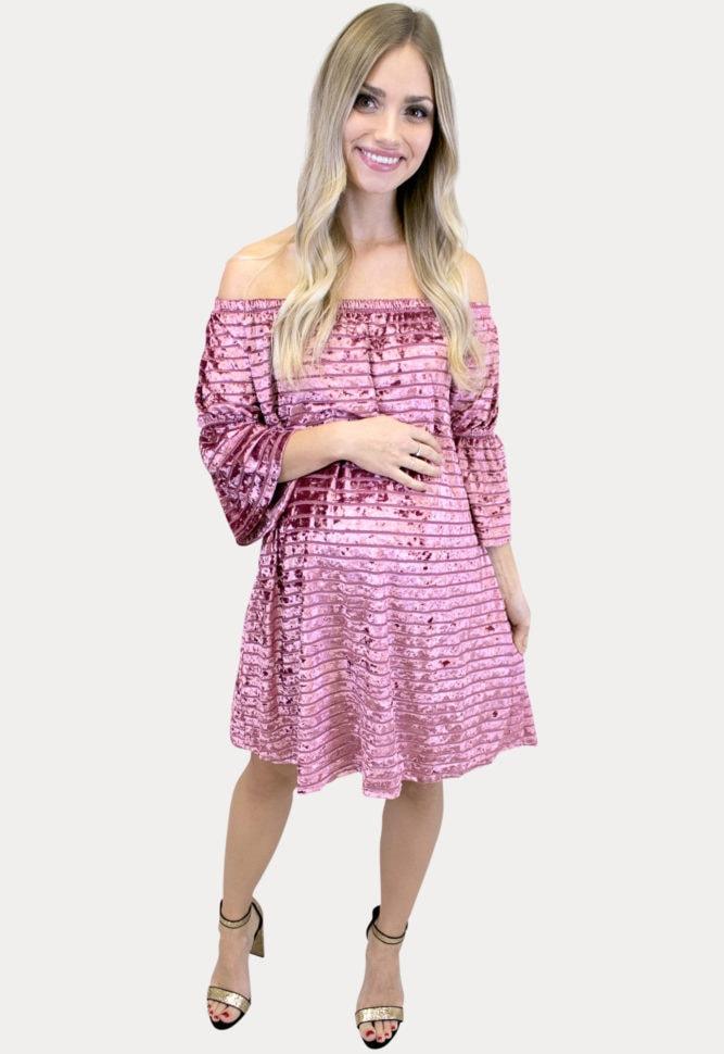 pink velvet maternity dress