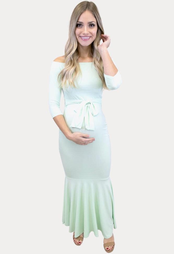 mint maternity maxi dress