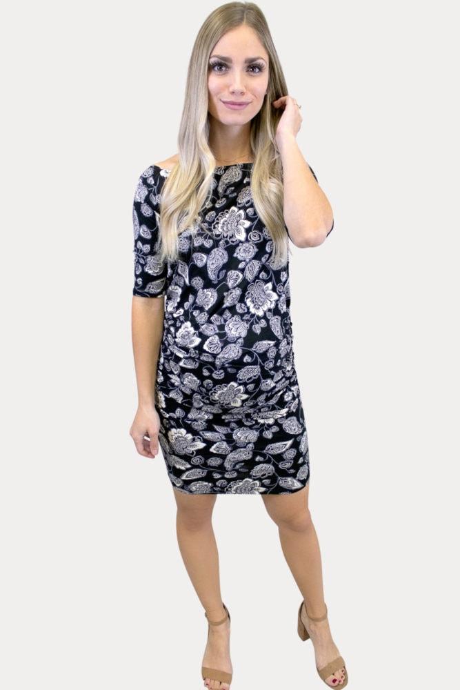 off shoulder floral maternity dress