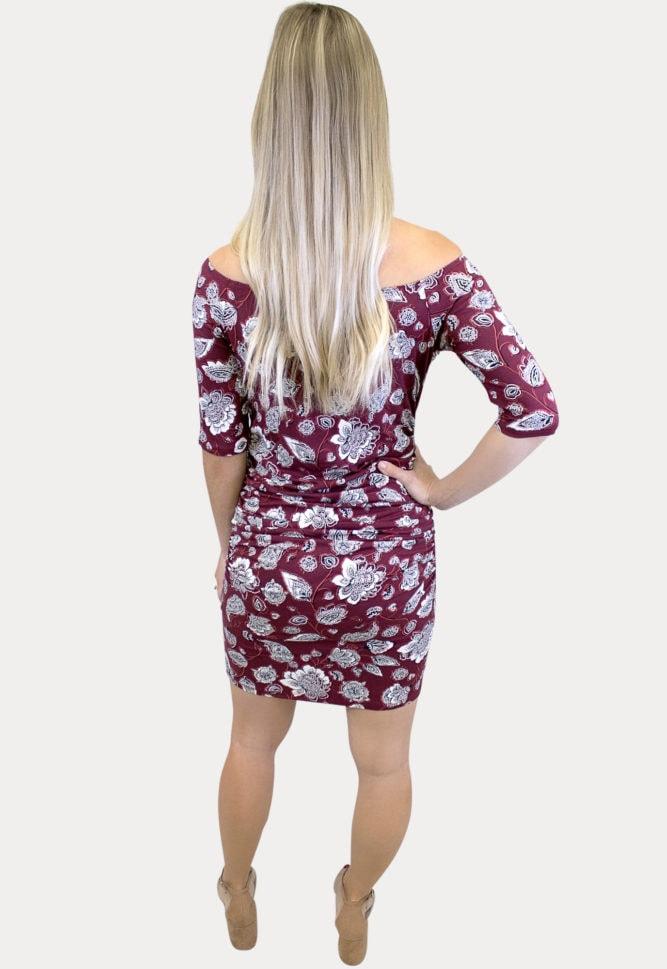 maroon floral maternity dress