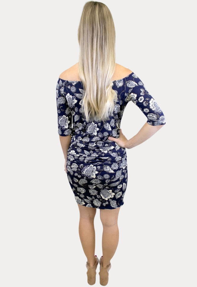 flattering floral maternity dress