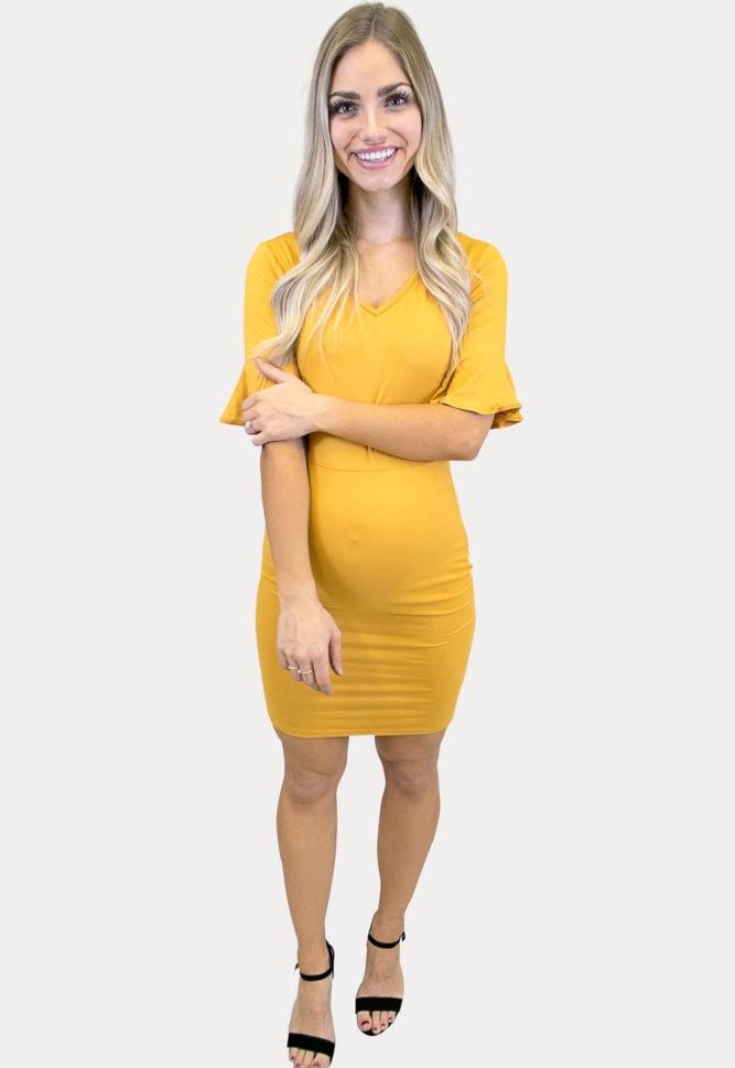 short sleeve bodycon maternity dress