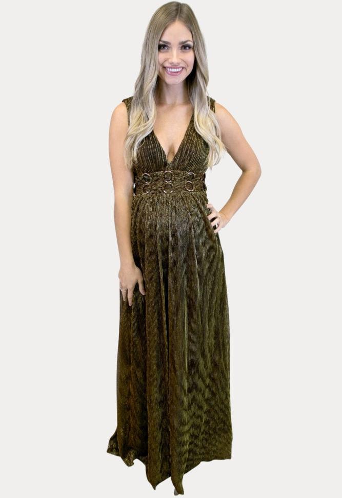 gold maternity maxi dress