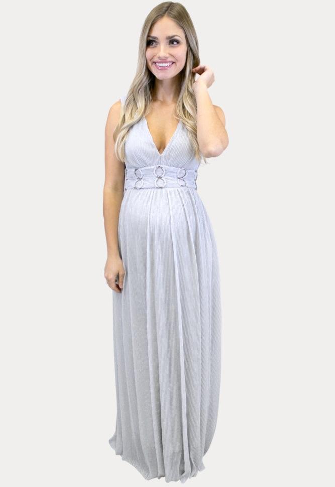 silver maternity maxi dress