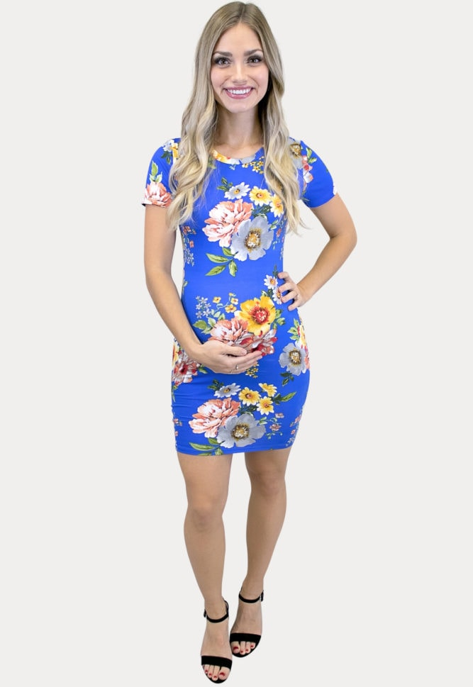 floral maternity bodycon dress