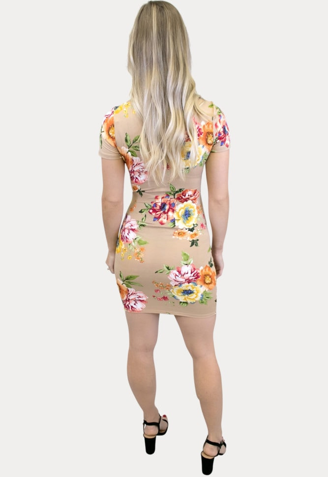 tan floral maternity dress