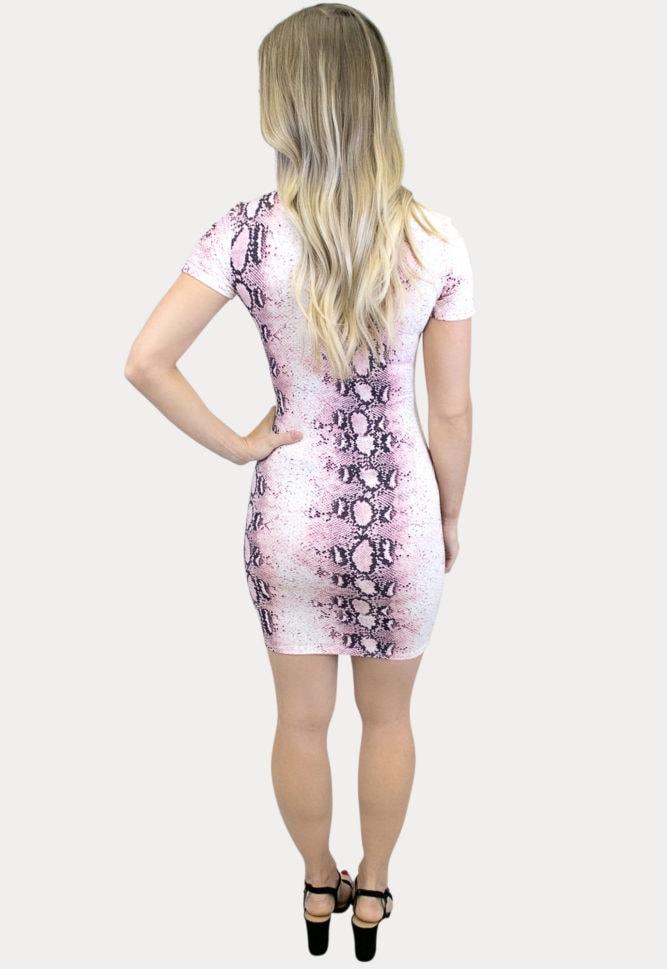 snake print bodycon maternity dress
