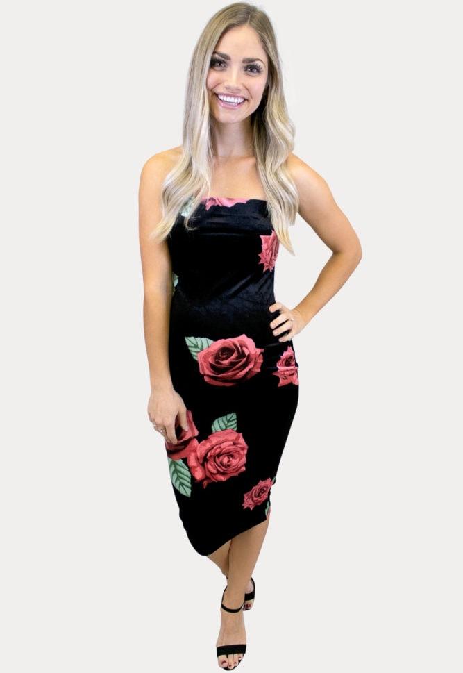 strapless velvet maternity dress