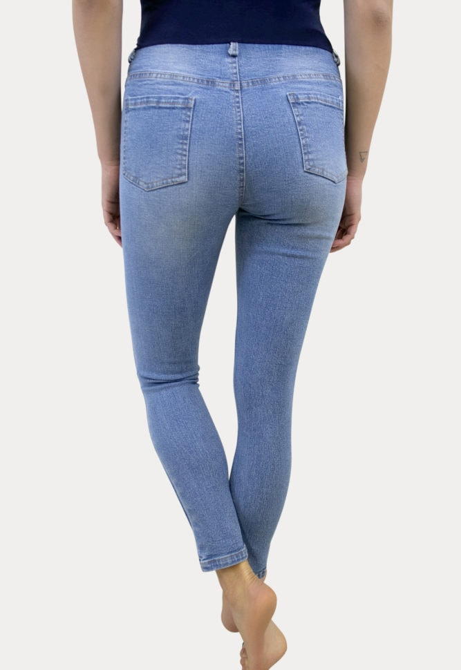 medium wash distressed maternity jeans