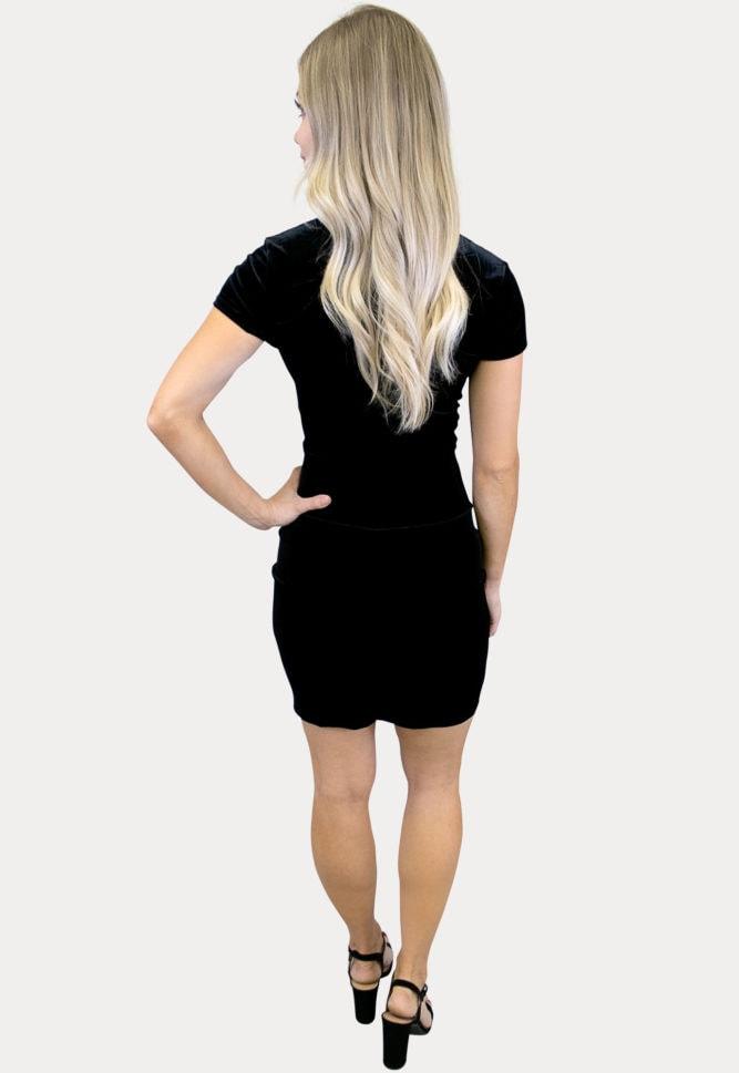 v-neck velvet maternity dress