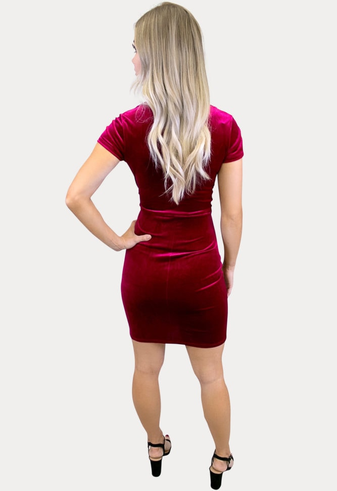 short sleeve velvet maternity dress