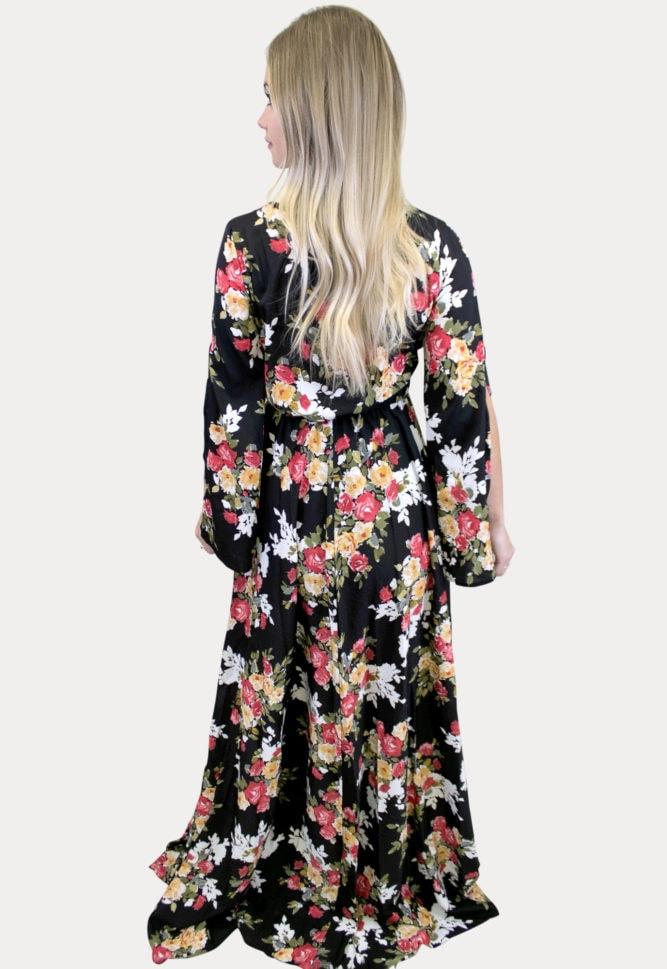 floral v-neck maternity maxi