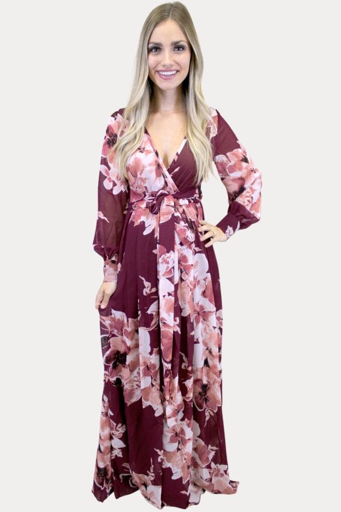 v-neck floral maternity maxi
