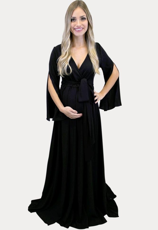 black v-neck maternity maxi