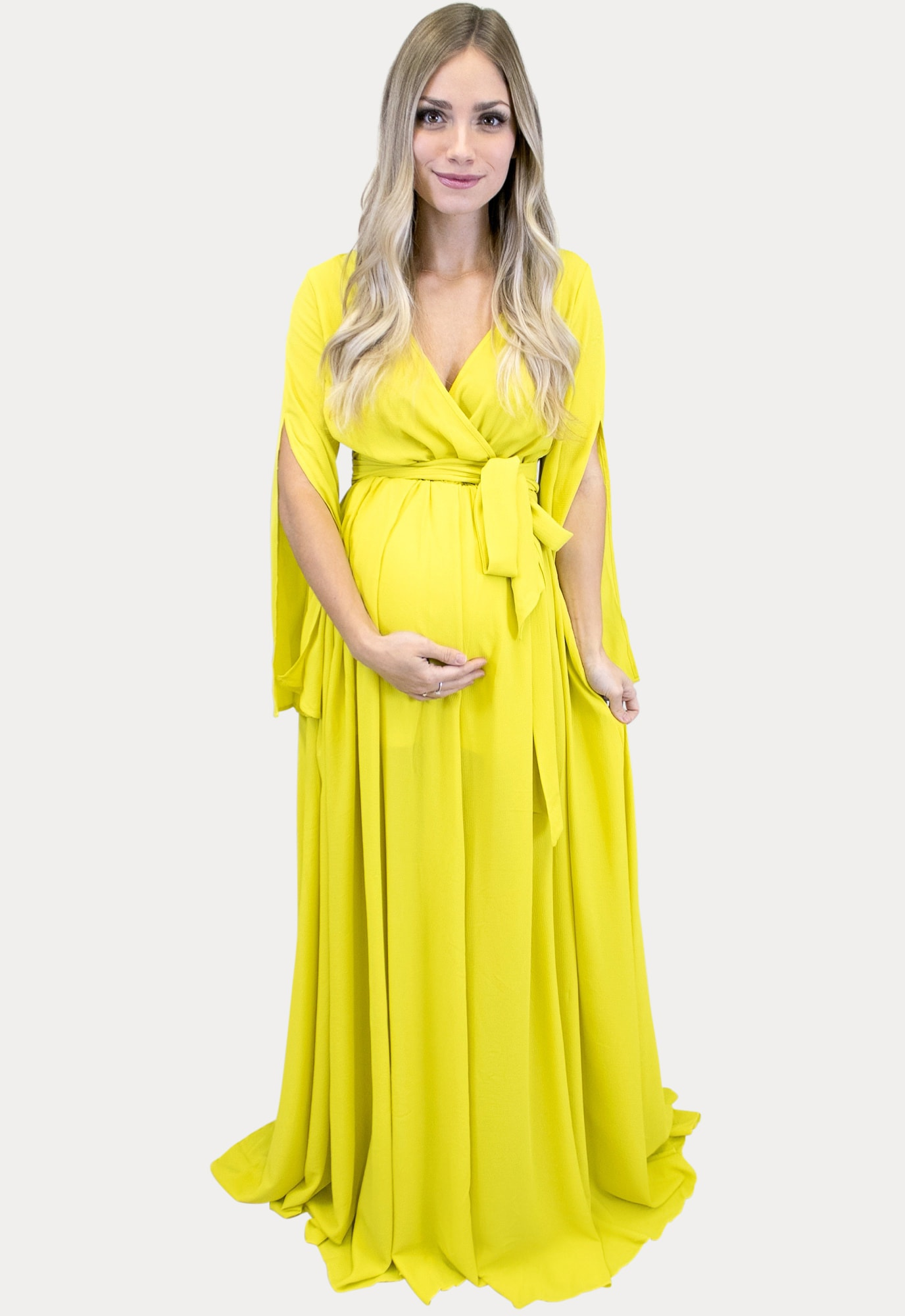Yellow Maternity Maxi Dress Sexy Mama Maternity