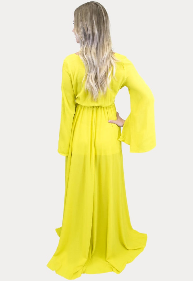 yellow maternity maxi dress