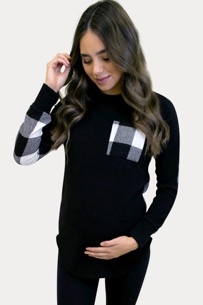 plaid maternity long sleeve
