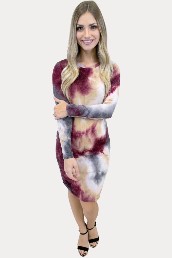 cozy tie dye maternity dress