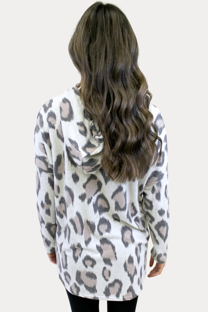 cozy leopard maternity sweatshirt