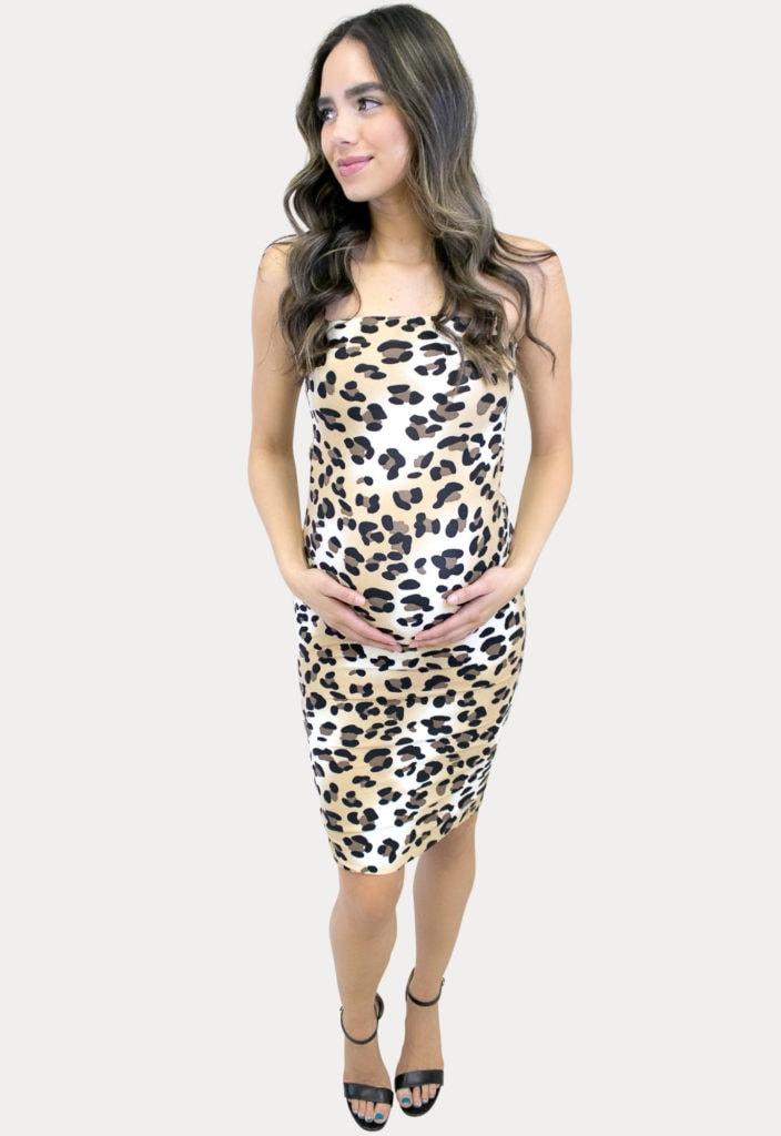 strapless leopard maternity dress