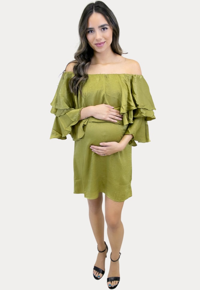 metallic maternity dress