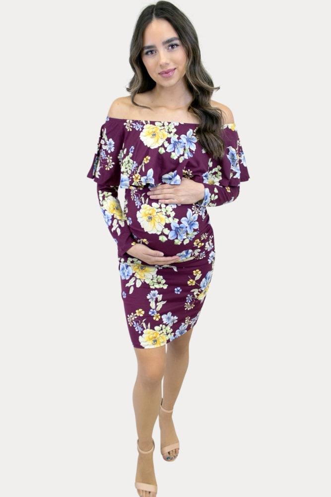 purple floral maternity dress