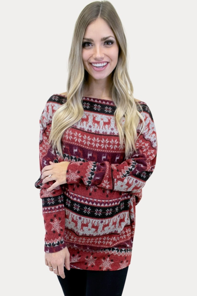 off the shoulder holiday maternity top