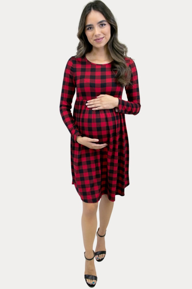 plaid babydoll maternity dress