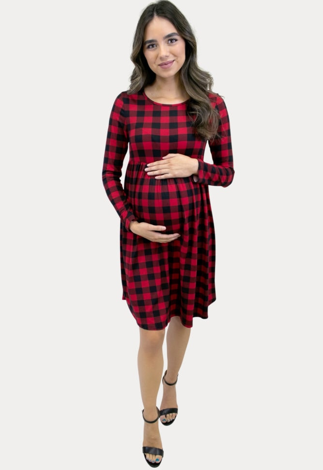 plaid babydoll maternity dress