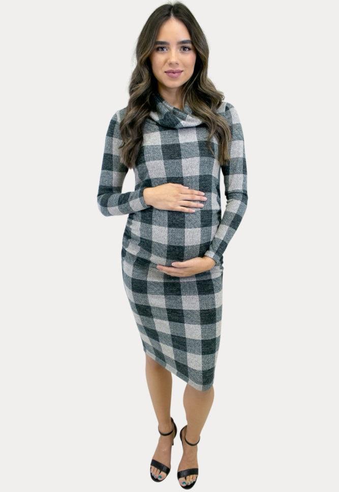 cowl neck plaid pregnancy dress
