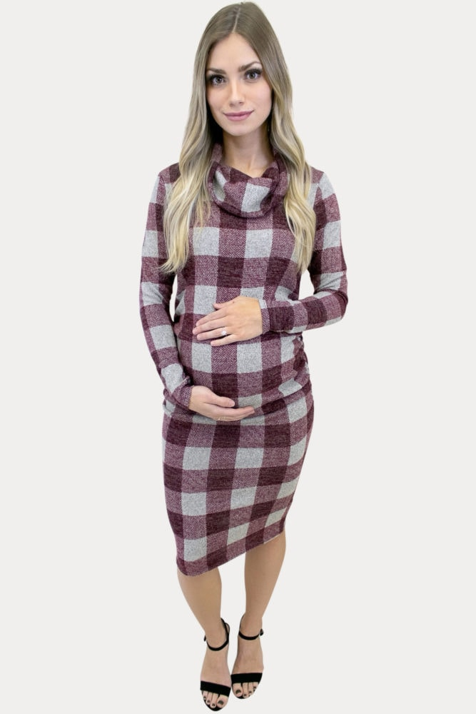 cowl neck plaid maternity dress