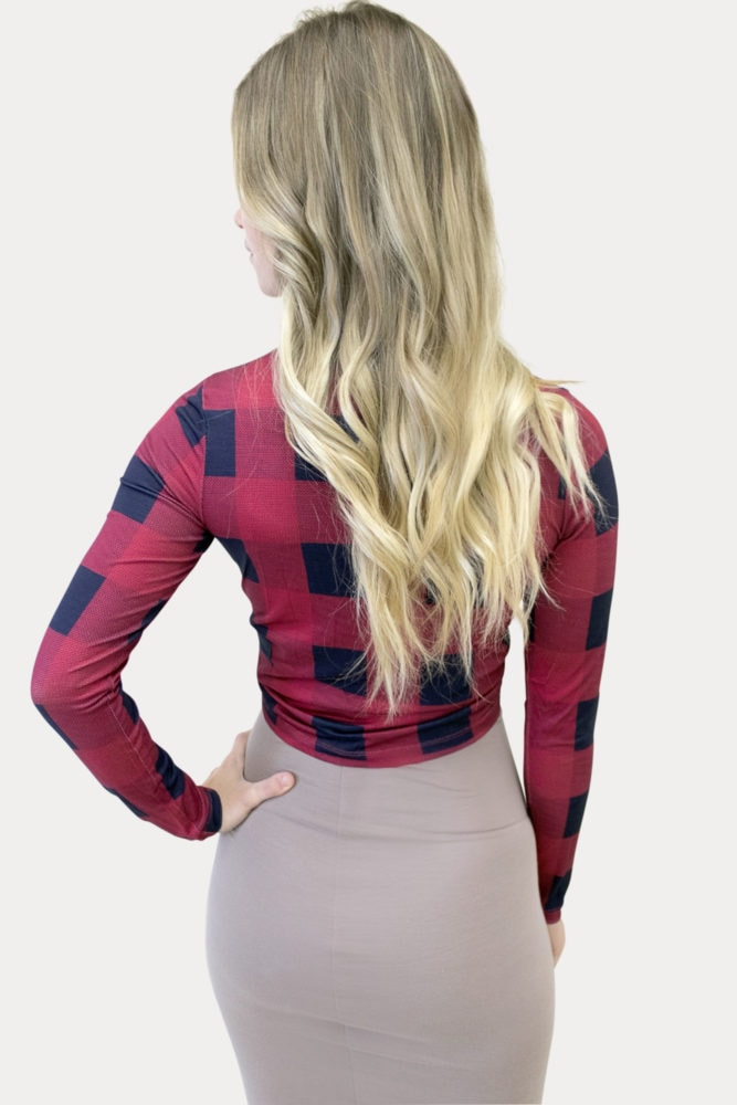 plaid maternity crop top